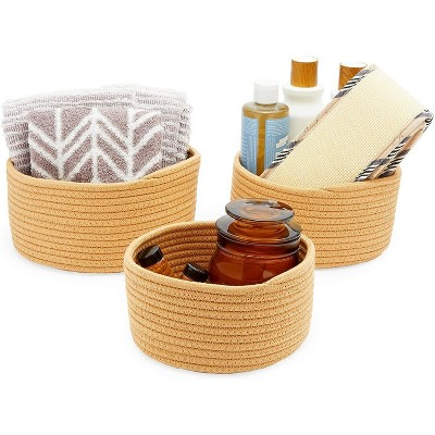Farmlyn Creek 3-Pack Round Cotton Woven Baskets for Storage, Brown Home Organizers (3 Sizes)
