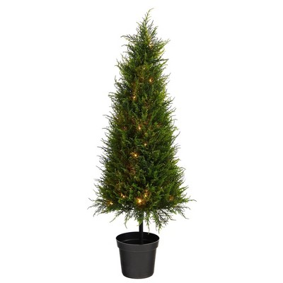 3.5' Indoor/Outdoor Cypress Artificial Tree with LED Lights - Nearly Natural