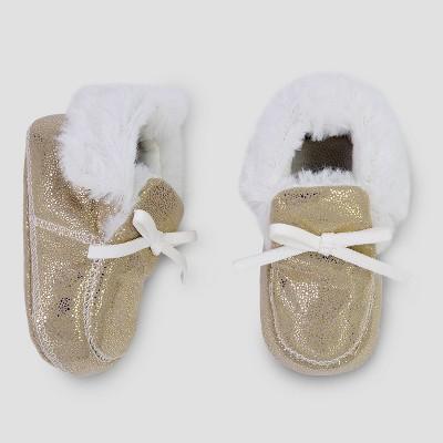 Baby Girls' Slipper - Cloud Island™ Metallic Gold 3-6M