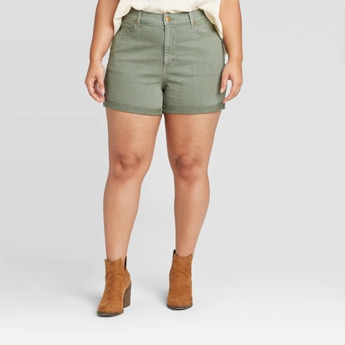 Women's Plus Size High-Rise Jean Shorts - Universal Thread™ Olive - image 1 of 3