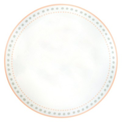 Porcelain Coupe Dinner Plate 10.5in Gray & Peach - Cheeky&#174