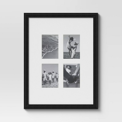 "18"" x 24"" Matted to 4"" x 6"" Gallery Offset Picture Frame Black - Threshold™"