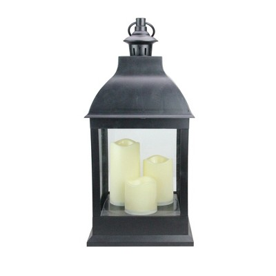 "Northlight 20"" Large Black Candle Lantern with 3 Flameless LED Candles"
