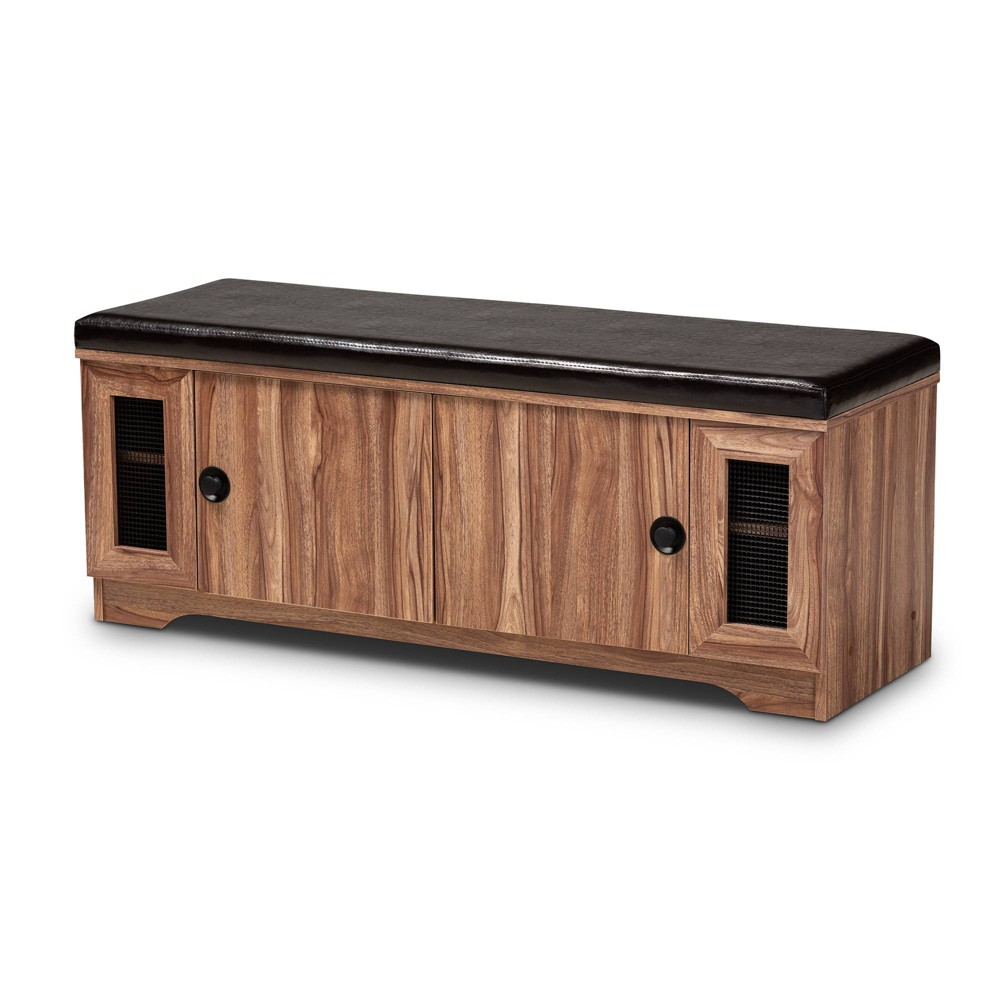 2 Door Valina Faux Leather Wood Shoe Storage Bench with Screen Inserts Brown - Baxton Studio