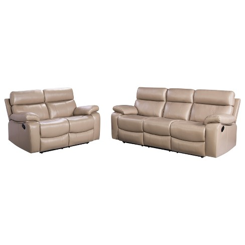 Cameron 2pc Leather Reclining Sofa And Loveseat Beige Abbyson