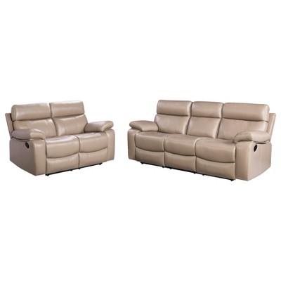 Etonnant 2pc Cameron Leather Reclining Sofa U0026 Loveseat Set Beige   Abbyson Living