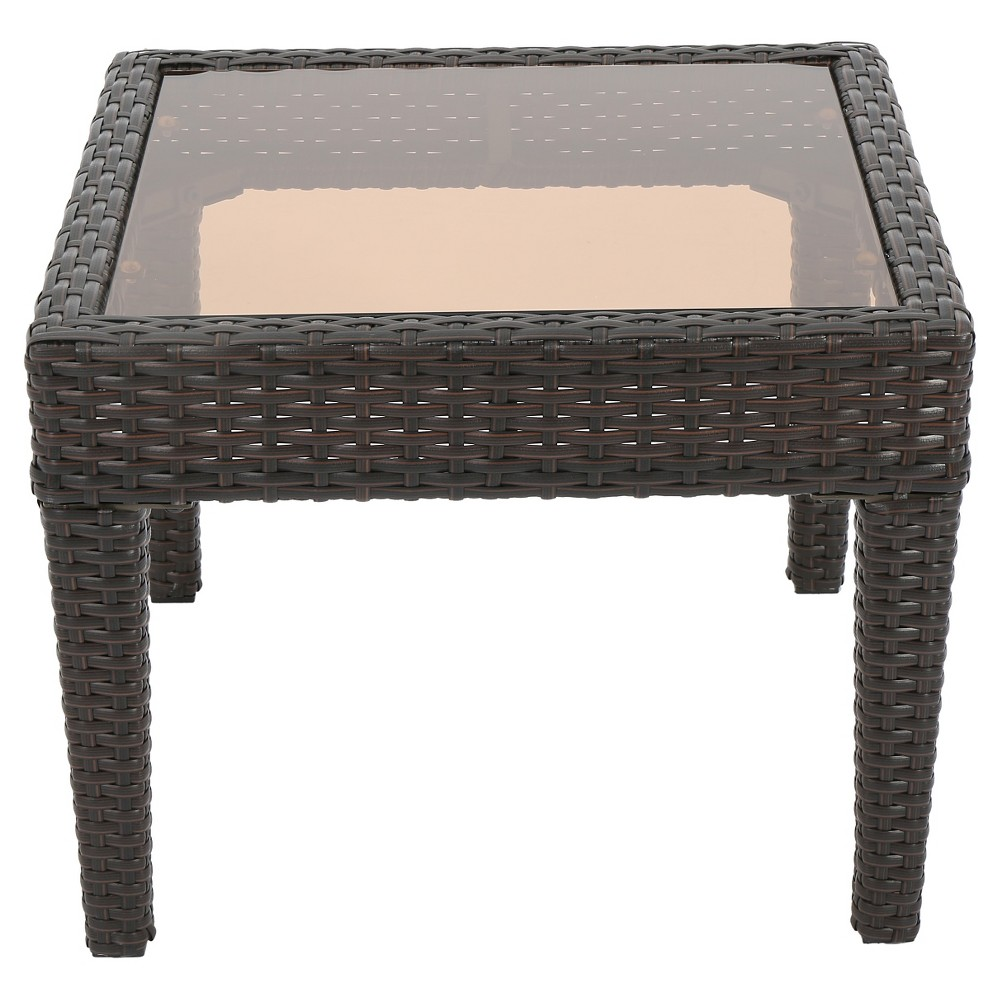 Antibes Wicker Patio Accent Table Brown Christopher Knight Home