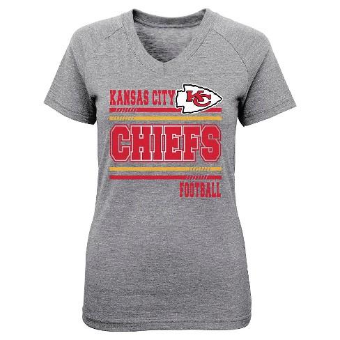 f3188df8 Kansas City Chiefs Girls Gray V-Neck Poly T-Shirt L