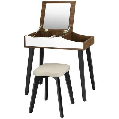 Costway Vanity Table Set with Flip Top Mirror Dressing Makeup Study Padded Stool