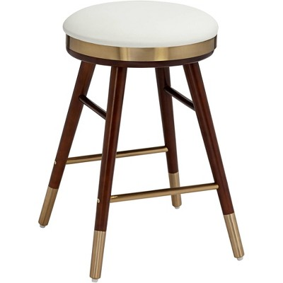 Studio 55D Parker White Leather Backless Counter Stool