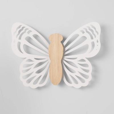 Butterfly Wood Lit Wall Decor Cream - Pillowfort™
