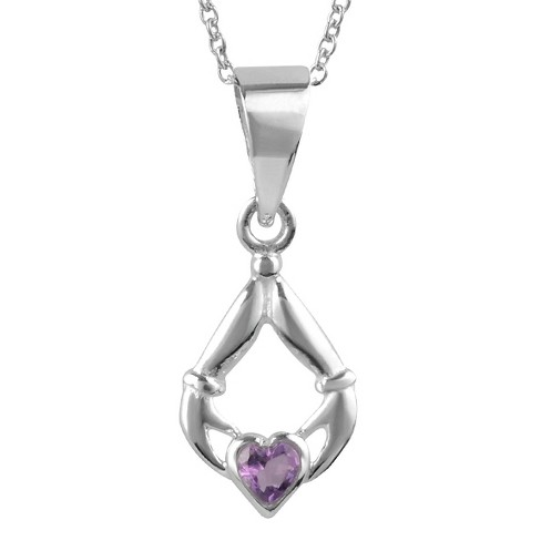 "1/10 CT. T.W. Heart-cut Amethyst Basket Set Claddagh Pendant Necklace in Sterling Silver - Purple (18"") - image 1 of 2"