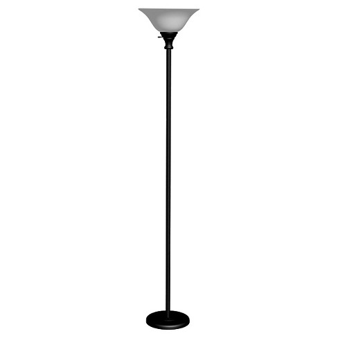 Cal Lighting Metal Black Torchiere with Glass Shade - image 1 of 2