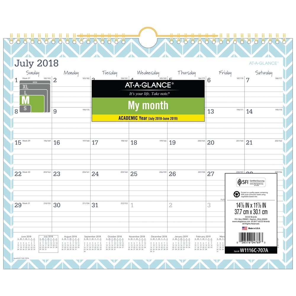 Image of 2018-19 Academic Wall Calendar AT-A-GLANCE White Lt. Teal