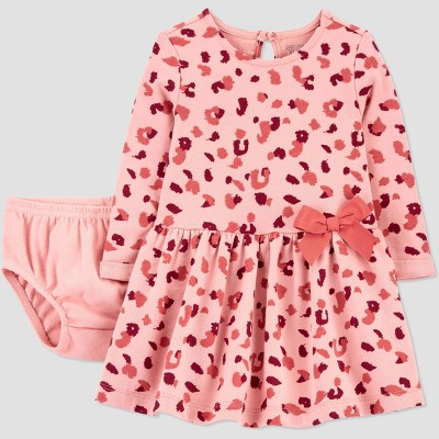 Baby Girls' Animal Long Sleeve Dress with Diaper Cover - Just One You® made by carter's Pink 9M