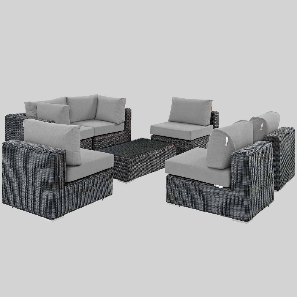 Summon 7pc Outdoor Patio Sectional Set with Sunbrella Fabric - Gray - Modway