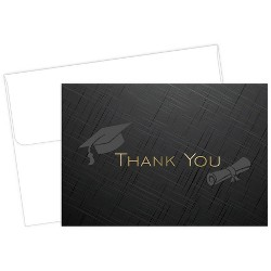 """50ct """"Thank You"""" Graduation Note Card Black"""