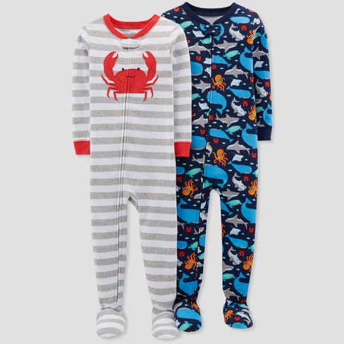 Toddler Boys' Crab Footed Sleeper - Just One You™ Made by Carter's® Light Gray - image 1 of 1