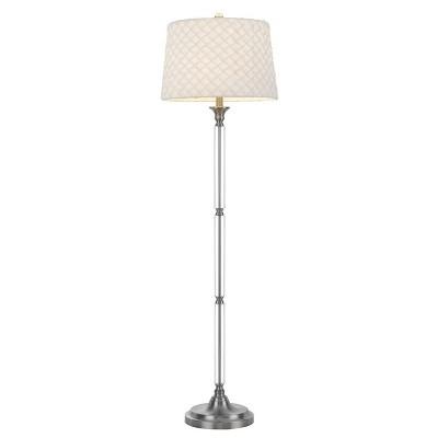 "60"" Metal/Crystal Contemporary Floor Lamp Brushed Steel - Cal Lighting"