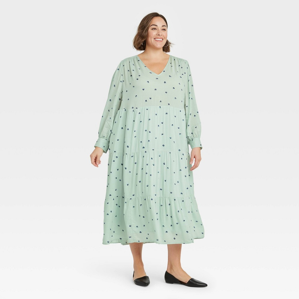 Women 39 S Plus Size Printed Long Sleeve Tiered Dress A New Day 8482 Mint 2x