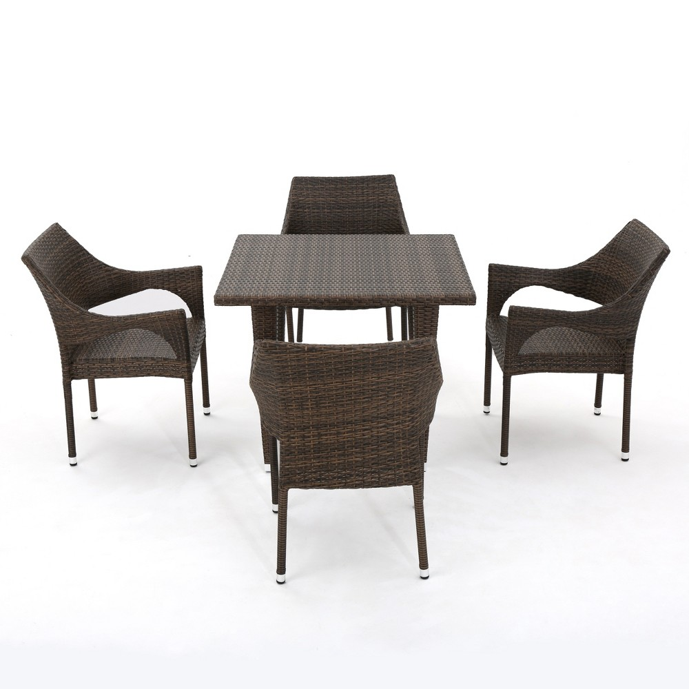 Cliff 5pc Wicker Dining Set - Mixed Mocha (Brown) - Christopher Knight Home