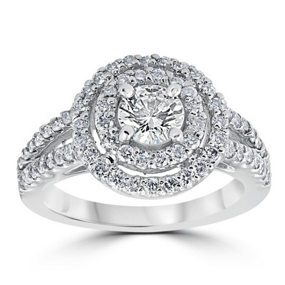 Pompeii3 1 1/2 cttw Pave Double Halo Round Brilliant Cut Engagement Ring 14K White Gold