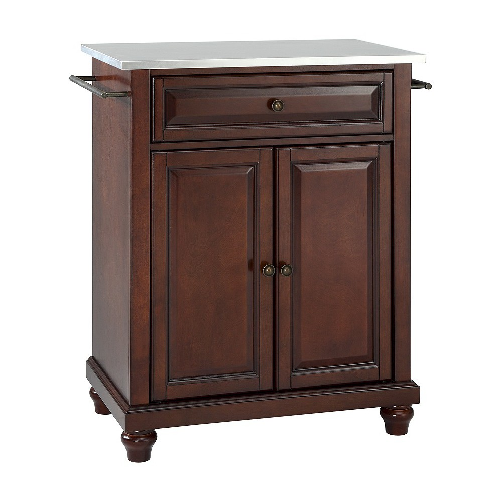 Cambridge Stainless Steel Top Portable Kitchen Island - Vintage Mahogany (Brown) - Crosley