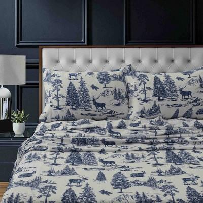 Queen Printed Pattern Extra Deep Pocket Heavyweight Flannel Sheet Set Navy Mountain - Tribeca Living