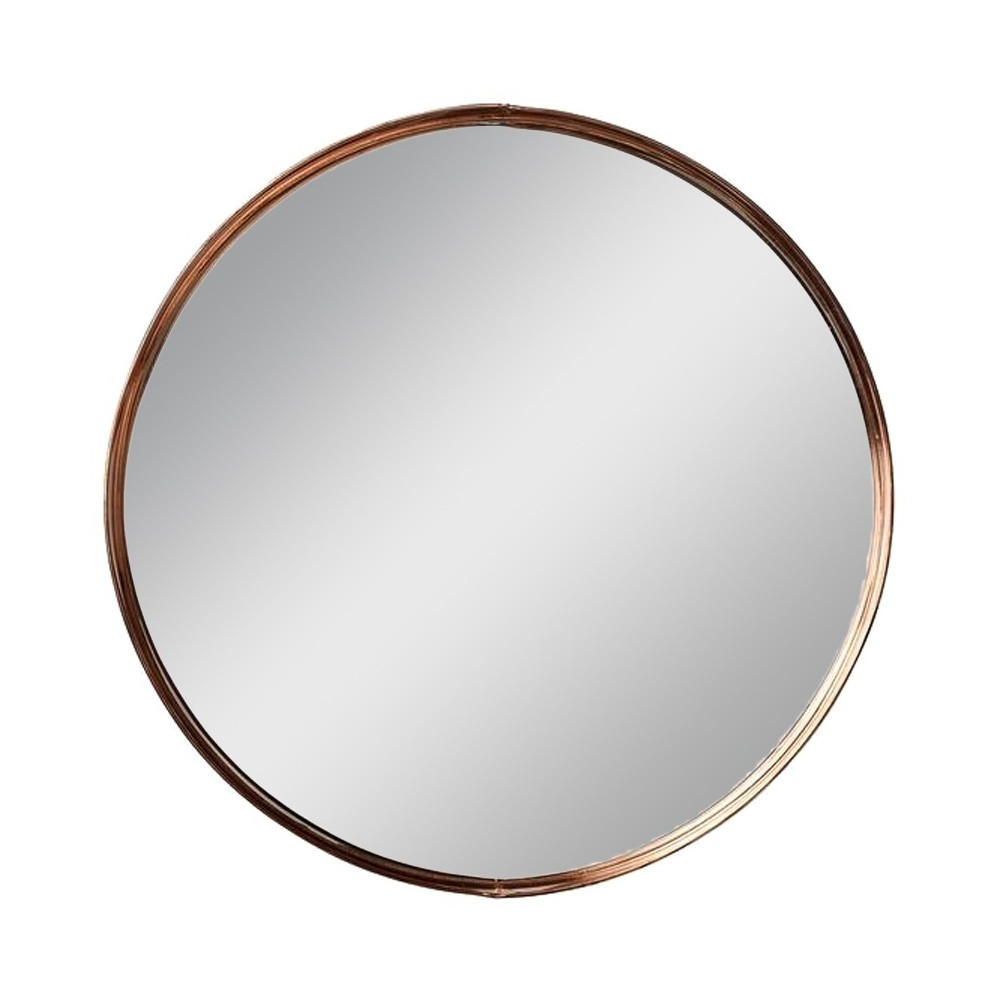 Image of 18.4 Metal Framed Round Wall Mirror Copper (Brown) - 3R Studios
