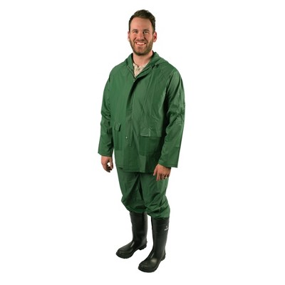 Stansport 2 Piece Laminated Industrial .2mm Thick Rainsuit Green