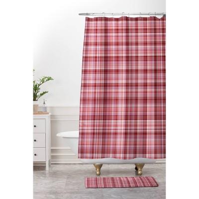 Lisa Argyropoulos Holiday Plaid Shower Curtain Burgundy - Deny Designs