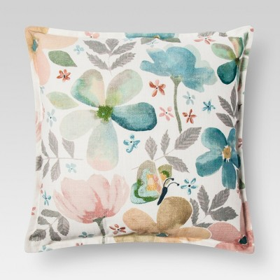 Watercolor Floral Throw Pillow - Threshold™