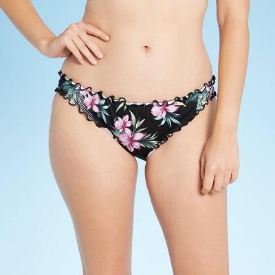 Women's Ruffle Cheeky Bikini Bottom - Shade & Shore™ Black Floral