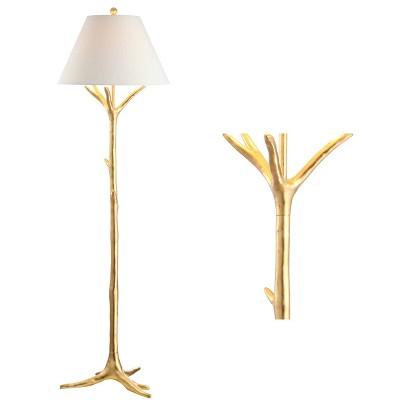 "63.5"" Arbor Faux Bois Resin Floor Lamp (Includes LED Light Bulb) Gold - JONATHAN Y"