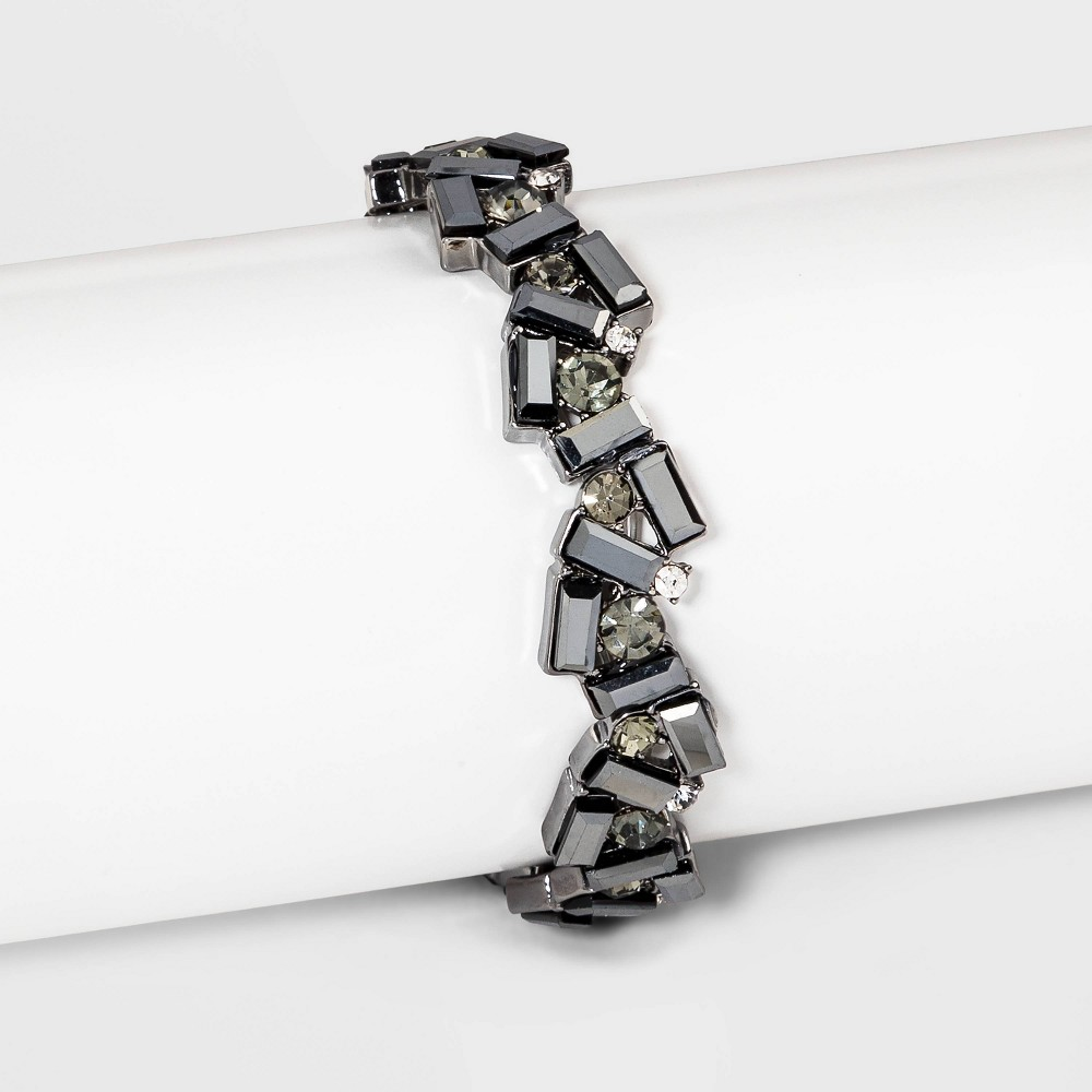 Image of Baguette Crystal Stretch Bracelet - A New Day Black, Women's