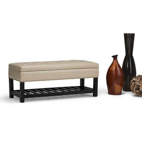 Strange Lomond Storage Ottoman Bench Satin Cream Simpli Home Alphanode Cool Chair Designs And Ideas Alphanodeonline