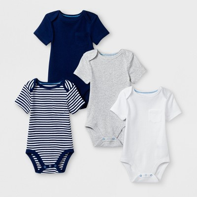 Baby Boys' 4pk Pocket Shorts sleeve Bodysuit - Cloud Island™ Blue Newborn