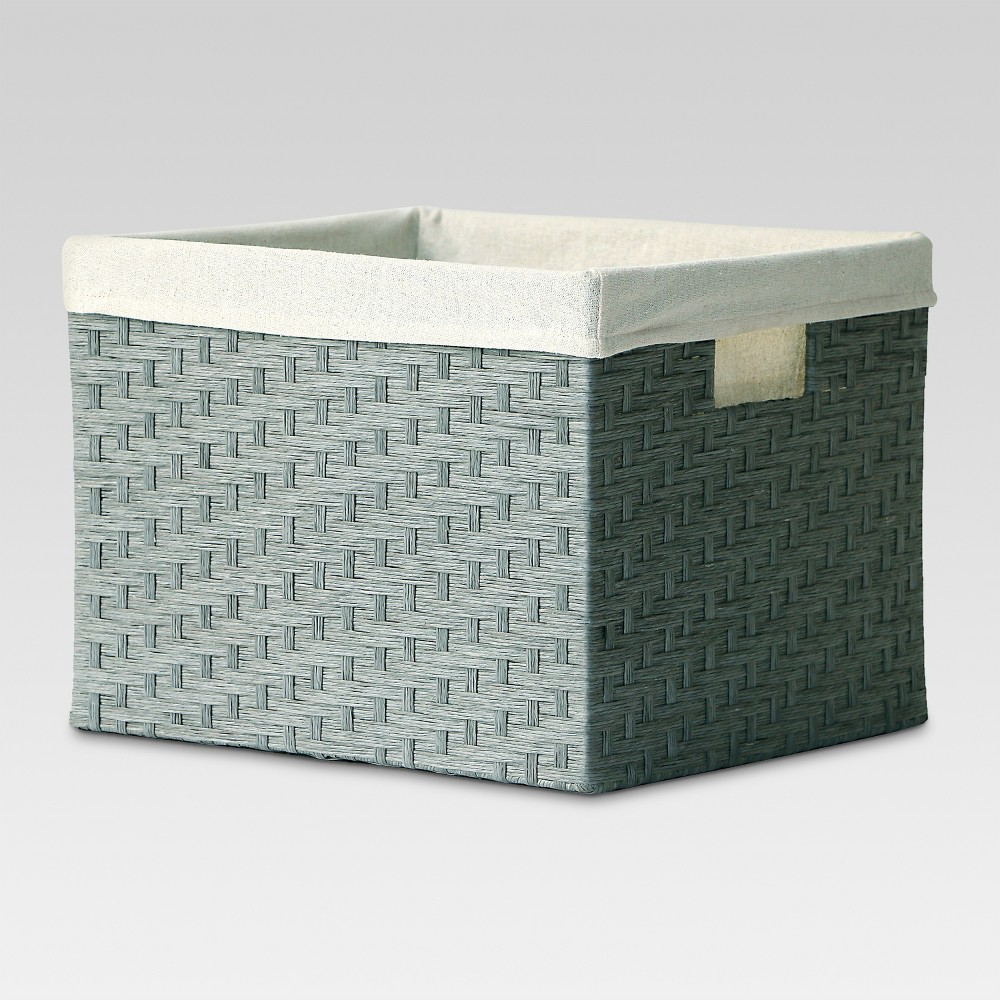 Large Lined Milk Crate - Gray Weave - Threshold