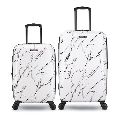 American Tourister Moonlight Plus 2 Piece 20 Inch Carry On and 24 Inch Hardside Expandable Travel Luggage Set with Spinner Wheels, Marble