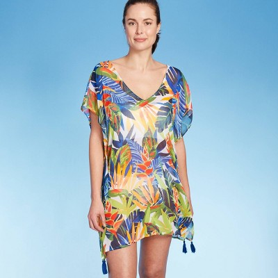 Women's Strappy Back Cover Up Tunic Dress - Kona Sol™ Multi Leaf