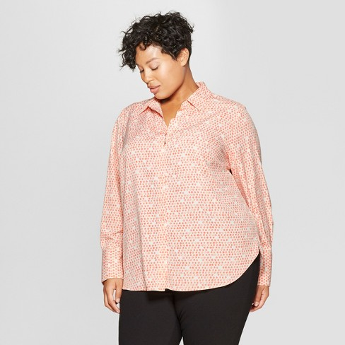581491852 Women's Plus Size Polka Dot Long Sleeve Collared Button-Down Blouse -  Prologue™ Pink