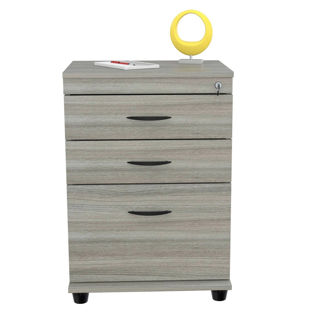 Image of 3 Drawer Locking File Cabinet Smoke Oak - Inval