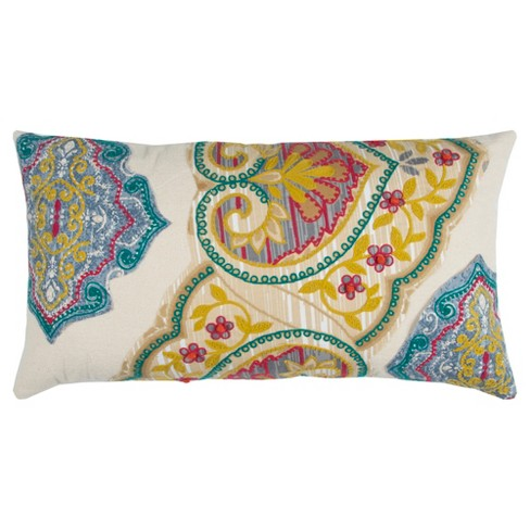 Natural Floral Throw Pillow - Rizzy Home - image 1 of 3