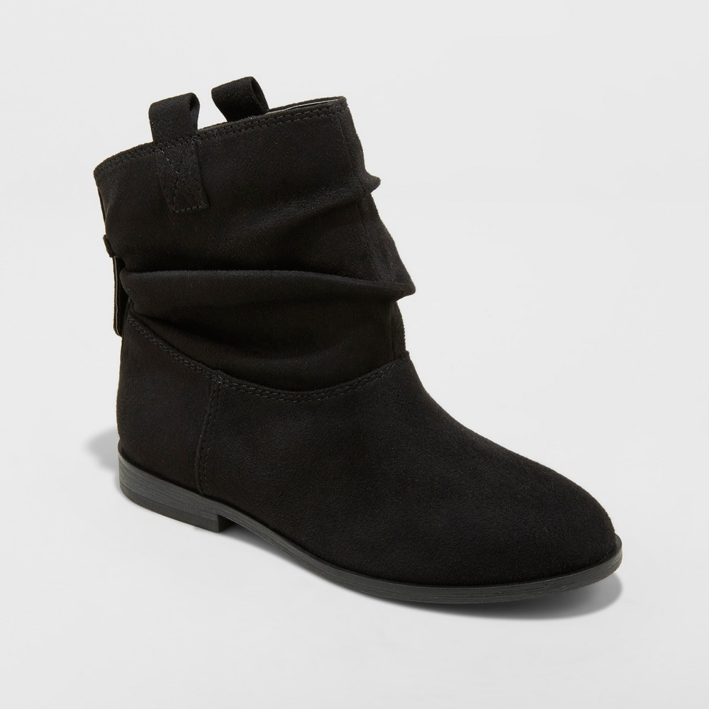 Girls' April Microsuede Scrunch Ankle Fashion Boots - Cat & Jack Black 13