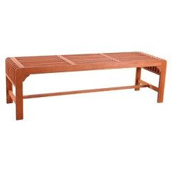 Vifah Backless Outdoor Wood 3-Seater Bench - Brown