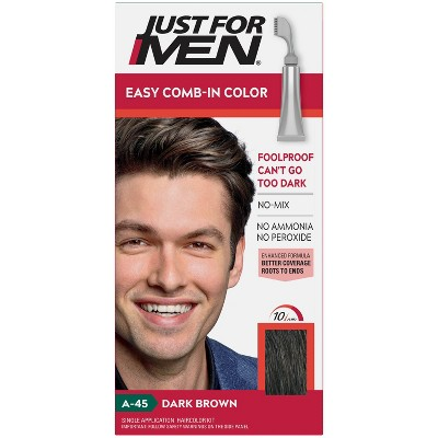 Just For Men Easy Comb-In Color Gray Hair Coloring for Men with Comb Applicator - Dark Brown A45
