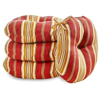 """4pk 18"""" Roma Stripe Outdoor Bistro Chair Cushions - Kensington Garden"""
