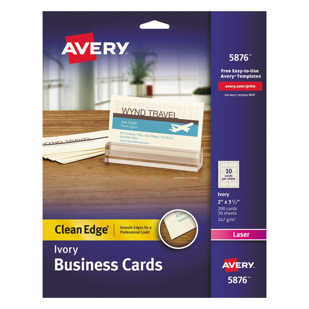 Avery Laser Two-Sided Printable Clean Edge Business Cards - Ivory (200 pk), Ivry