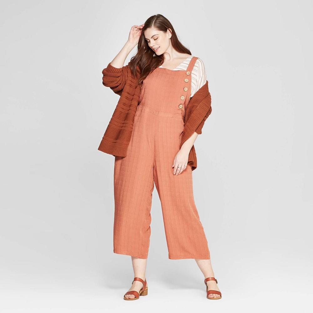 Women's Plus Size Sleeveless Button Detailed Jumpsuit - Universal Thread Orange 4X