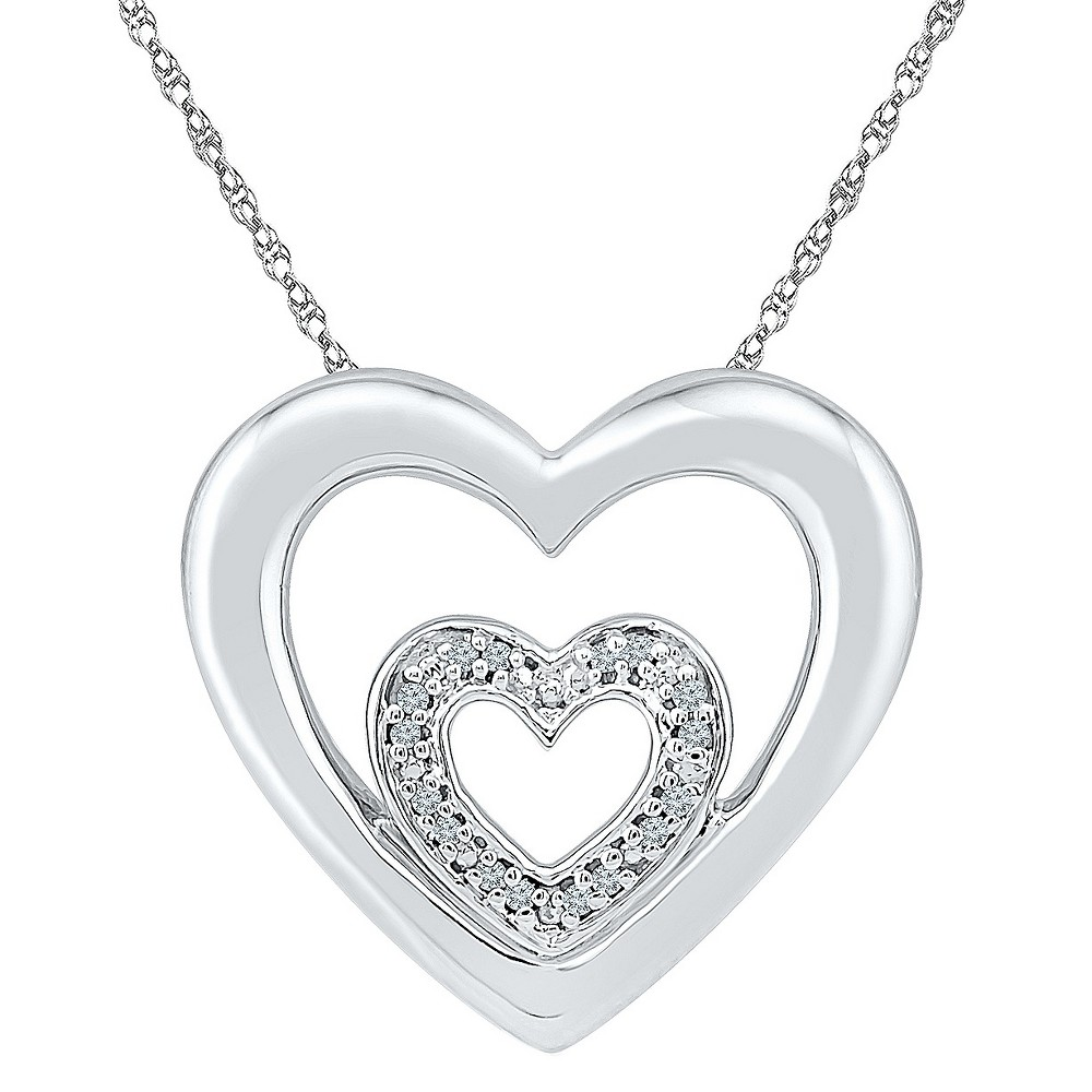 Diamond Accent White Diamond Prong Set Double Heart Necklace in Sterling Silver (IJ-I2-I3), Girl's